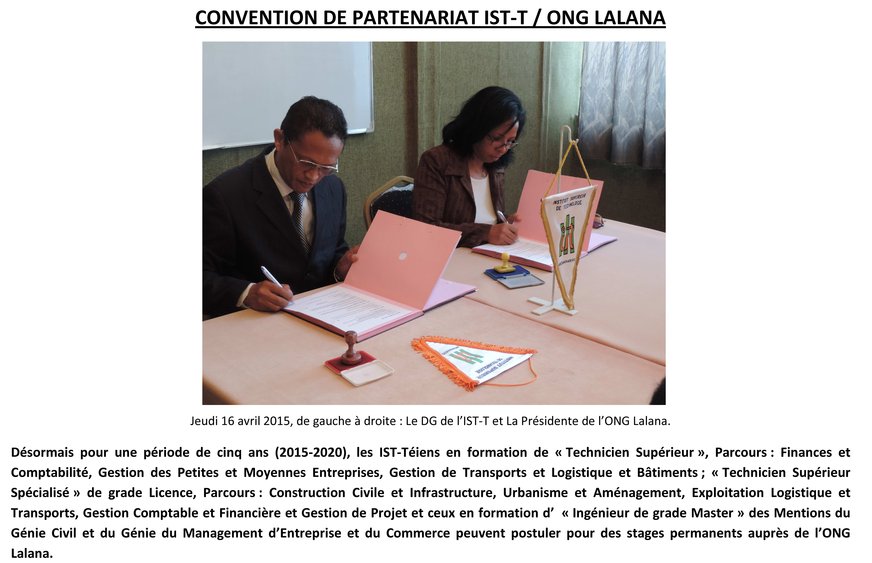 Convention ISTT et ONG LALANA